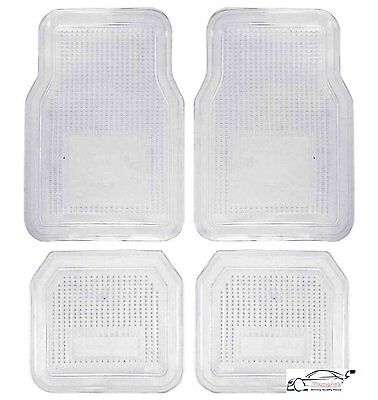 Universal Transparent/Clear Car Floor Mat Protectors Set. Front + Rear, 4 piece
