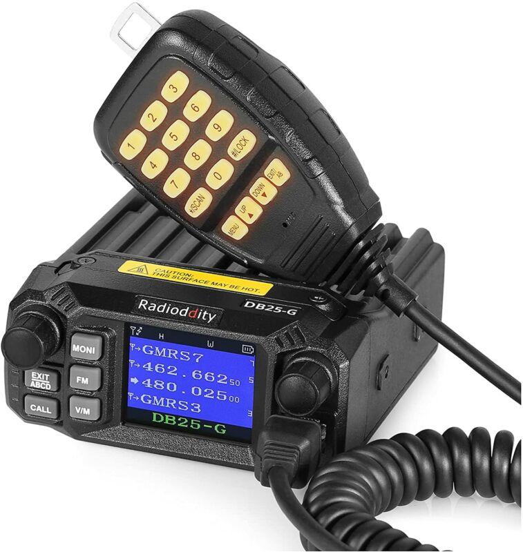 Radioddity DB25-G GMRS Mobile Radio 25W Two Way Radio Long Range Quad Watch