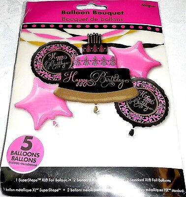 Anagram HAPPY BIRTHDAY CAKE Foil Balloon Bouquet - PINK, BLACK & GOLD