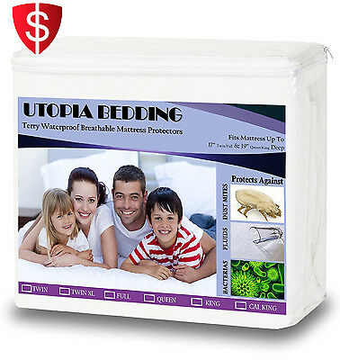 Mattress Protector Queen Size Cover Bed Waterproof Bug Dust Mite Hypoallergenic