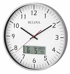 *BRAND NEW* Bulova Bright white dial Digital Dsplay Brushed Clock C4810