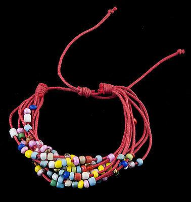 Bracelet multi fils rouge perles de verre tous poignets-Line bresilien Wrap 941 (Tous Armband Perle)