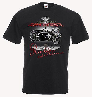 Harley Davidson Motorrad T-shirt (Motorrad Harley Davidson Motorbike vintage classic T Shirt Herren SCHWARZ/ WEISS)