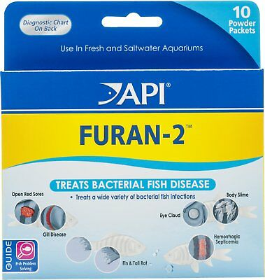 Api Furan 2 For Bacterial Fish Disease Open Sores  Rot  Cloudy Eye 10 Pk Powder