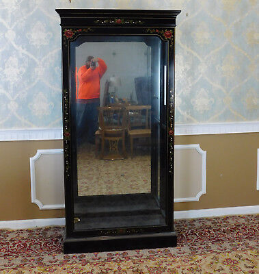 Black Lacquered Floral Painted Lighted Display Curio Cabinet (Painted Curio)