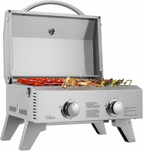VIVOHOME Tabletop Stainless Steel 2-Burner Propane Gas Grill