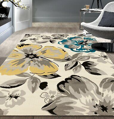 Rug Modern Floral Area 5X7 Cream Gray Teal Yellow Floral Contemporary Carpet Floral Contemporary Rug