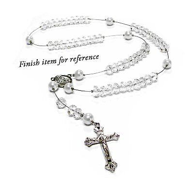 Rosary Beads White Crystal Glass Bead Kit for Woman Jewelry