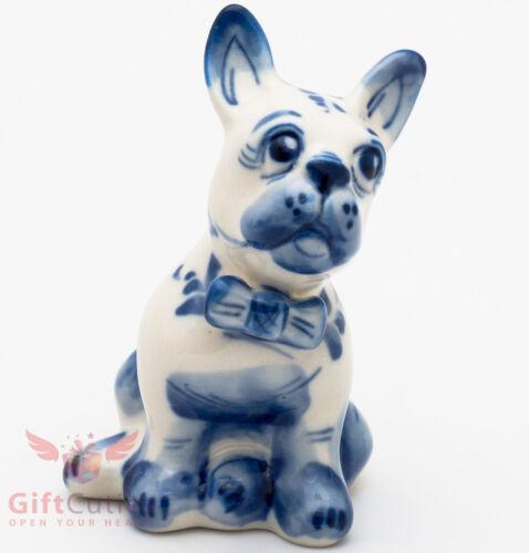 Gzhel Porcelain French Bulldog Dog Figurine handmade