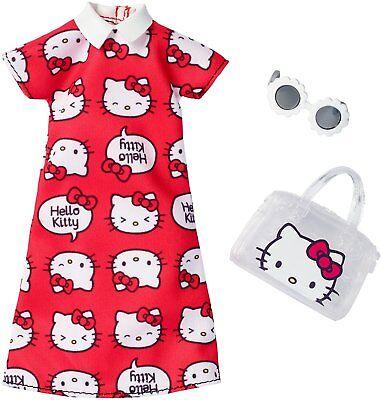 Mattel Barbie FKR67 Hello Kitty Outfit rotes Kleid mit Handtasche + Sonnenbrille