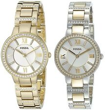 Fossil Women's Virginia Gold or Two Tone Stainless Steel Watch - Choice of Color
