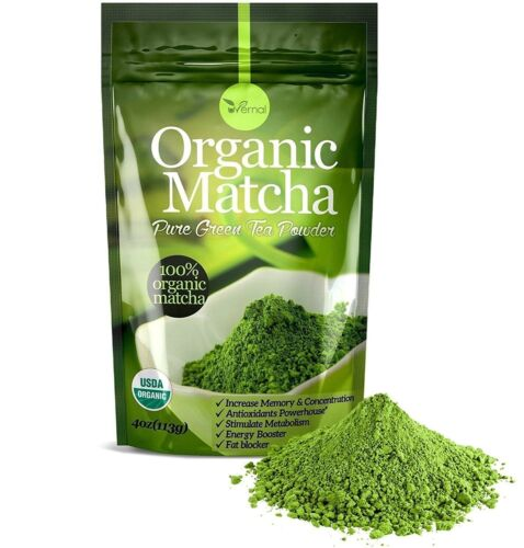 Organic Matcha Green Tea Powder Unsweetened 100% Natural Culinary Grade Starter