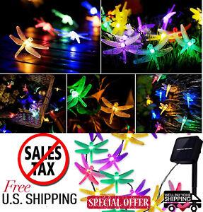 Outdoor Solar Powered 30 LED dragonfly String Light Garden Patio Yard Lamp Decor
