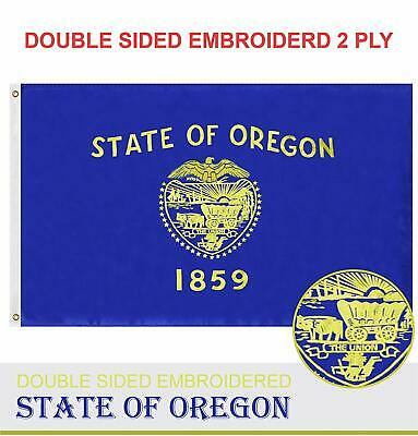 Oregon State Flag 210D Embroidered Polyester 3x5 Ft - Double Sided 2ply for sale  Willowbrook