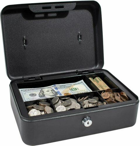 Royal Sovereign Full-Size Steel Cash Box Security Lock 6 Compartments Storage