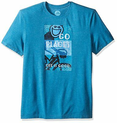Life Is Good - Go Places - Jake Cycling Bike Bicycle Crusher T Shirt Mens - Life Places
