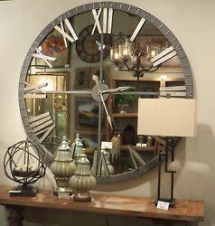 "XL Aged Metal Wall Roman Clock Mirrored 60"" Large Farmhouse Modern Industrial"