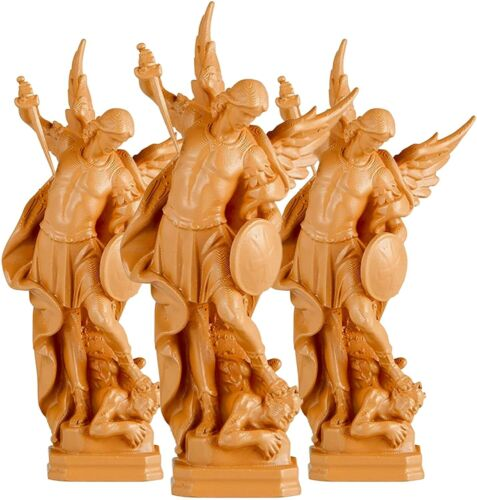 Mini Saint Michael the Archangel Moulded Plastic Figurines, 3 Pack, 2.5 In