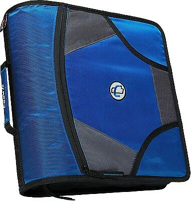 New Case-it XL 3 Ring D-Ring 4 INCH Zipper Binder with 5-Tab File Folder, BLUE