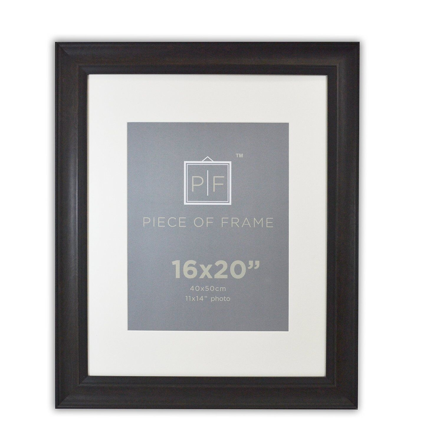 16x20 Dark Brown Frame with Black Border 2-inch wide with Iv