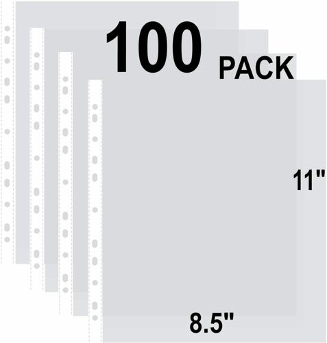 100 Clear Binder Sheet Protectors 8.5 x 11 Inch Plastic Sleeves for Binders