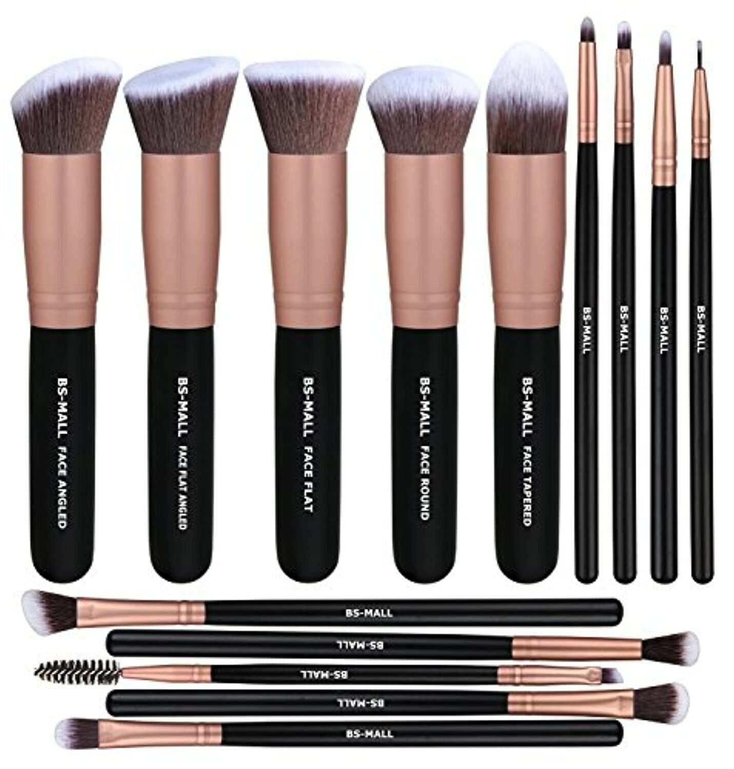 BS-MALL Makeup Brushes Premium Synthetic 14 Pcs Brush Set, R