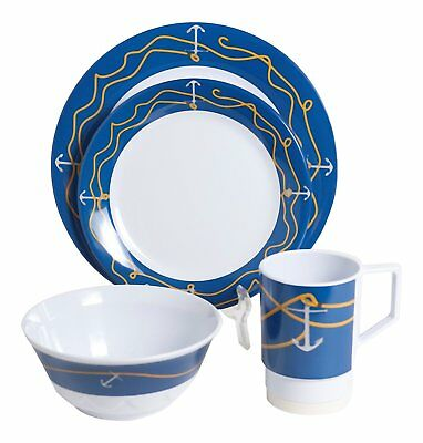 GWC1005-L 16A Galleyware Anchorline 16 Piece Melamine Non-Skid Dinnerware (Non Skid Dinnerware)