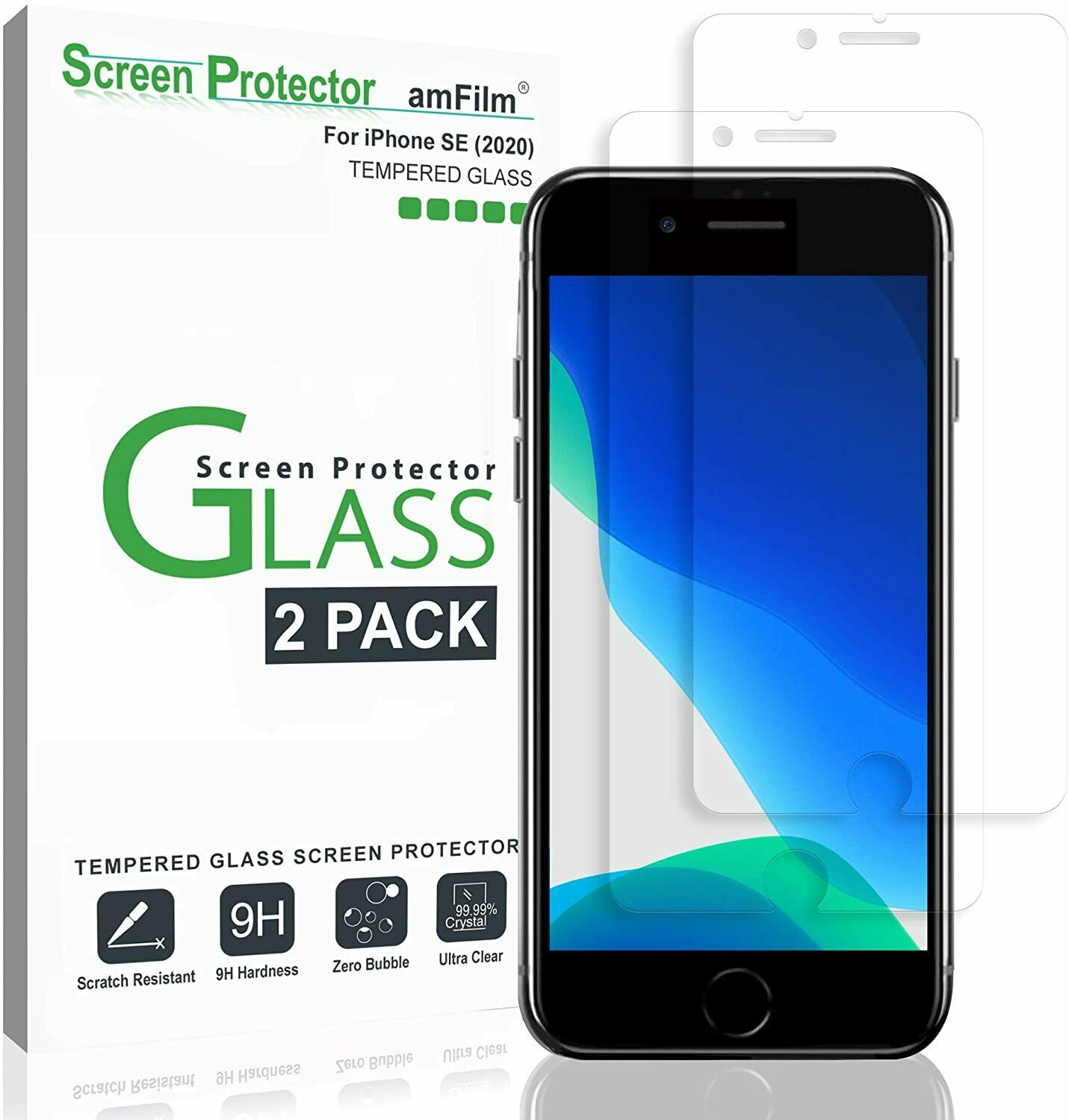 iPhone 6/6S Tempered Clear Glass Screen Protector amFilm 0.26mm thick, 2 Pack