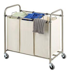 tidy living deluxe triple laundry sorter rolling hamper cart organizer basket