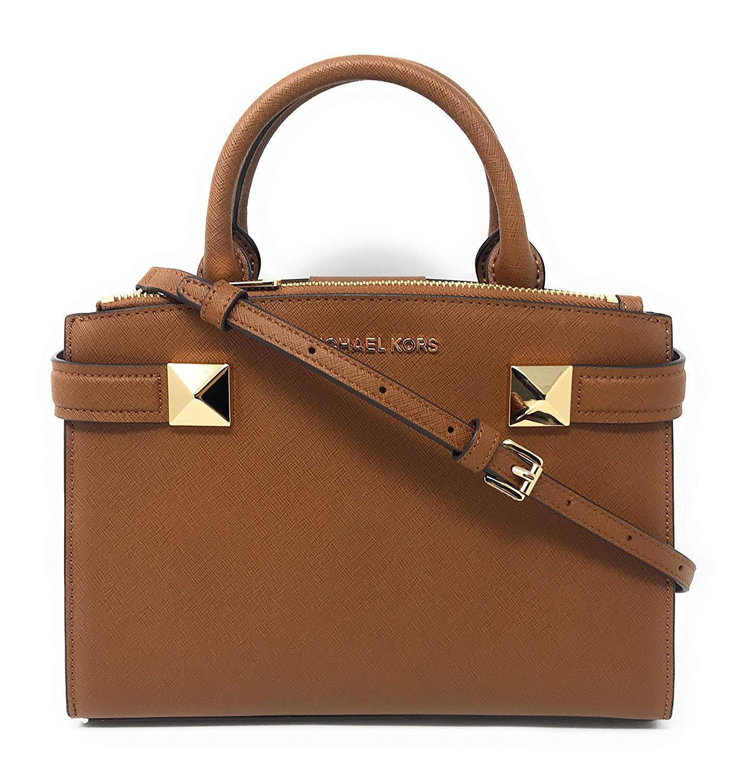 Michael Kors Karla Luggage Saffiano Leather Small Crossbody Satchel Bag