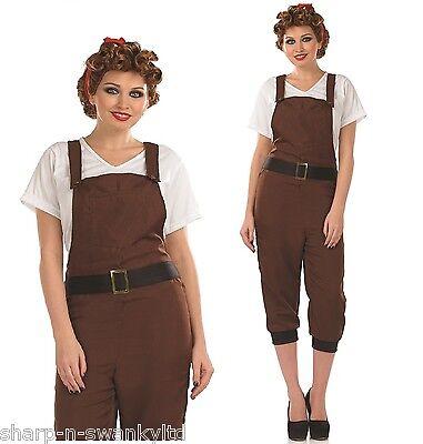 Ladies 1940s WW2 Brown Land Girl Army Fancy Dress Costume Outfit 8-22 Plus Size (Army Girl Kostüm Plus Size)