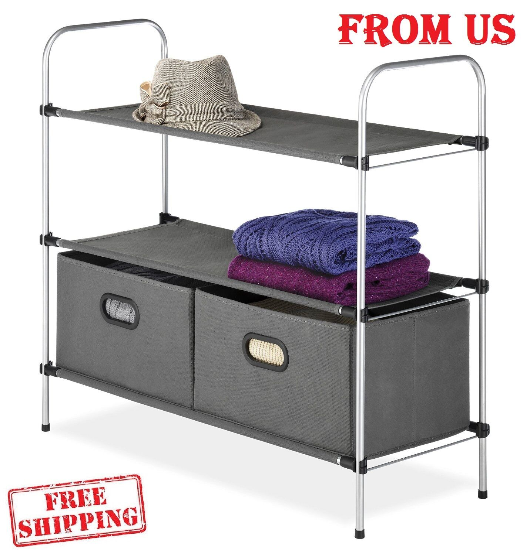 Laundry Hamper Closet Shelves Storage Organizer Fabric Bins