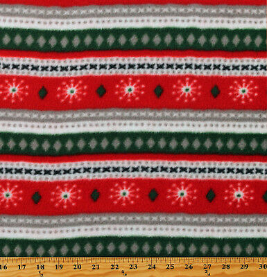 Fleece Christmas Sweater-Like Stripes Red Green Holiday Fabric Print BTY A511.38 ()