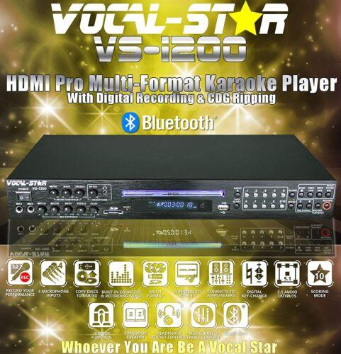 Vocal-Star VS-1200 CDG DVD HDMI Bluetooth Karaoke Machine With 4 Mic Inputs