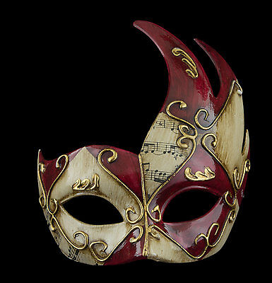 Mask Venetian Wolf Colombine Swan Musica Red and Golden 1116 V56