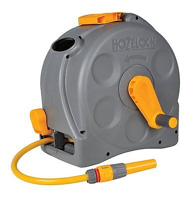 Hozelock 2-in-1 Compact Enclosed 25m Garden Water Hose Pipe Reel with Connectors
