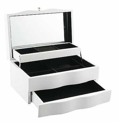 Geff House Wave Collection Jewelry Gift Storage Chest White
