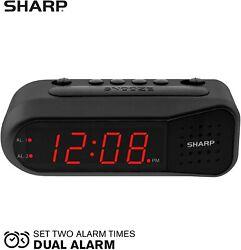 Sharp Digital Alarm Clock Black Case with Red LEDs Battery Back up Dual Alarm