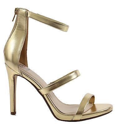 Gold Heels (Women's gold heels with zipper fastening 4.5