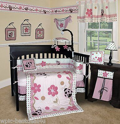 Baby Boutique - Ladybug - 14 pcs Crib Bedding Set Including Music Mobile