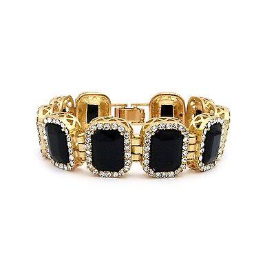 - MENS ONYX BLACK DIAMOND GOLD FINISHED RUBY BRACELET HIP HOP RAPPERS