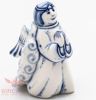 Gzhel Porcelain Figurine of Angel preying hand-painted handmade