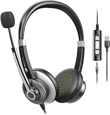 USB Headset with Microphone for PC, Computer Headset with Microphone Noise Cance