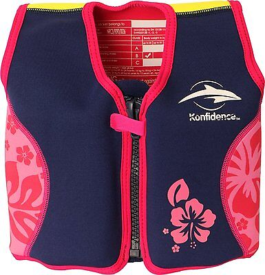 Konfidence Jacket - The Original Konfidence Jacket for bouyancy 4-5 years Pink/Navy Hibiscus