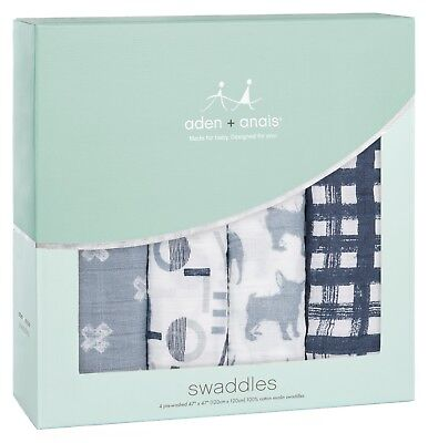 "Aden & Anais Classic Cotton Muslin 47"" x 47"" Baby Swaddles Waverly 4 Pack NEW"