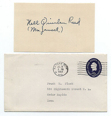 Fashion Designer Nell Donnelly Reed (d.1991) Signed 3x5 Index Card