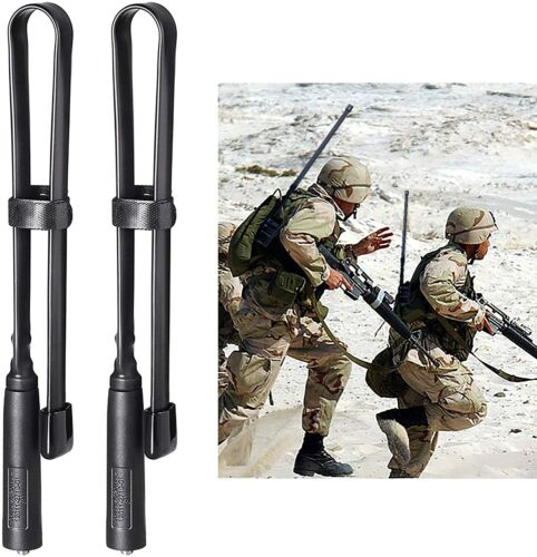 2x CS Tactical Foldable DualBand Antenna For Baofeng BF-F8HP UV-5R Walkie Talkie