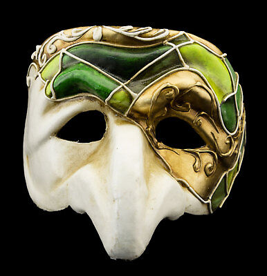 Mask from Venice Polichinelle Green Golden Nose Paper Mache for Man Luxury 22348