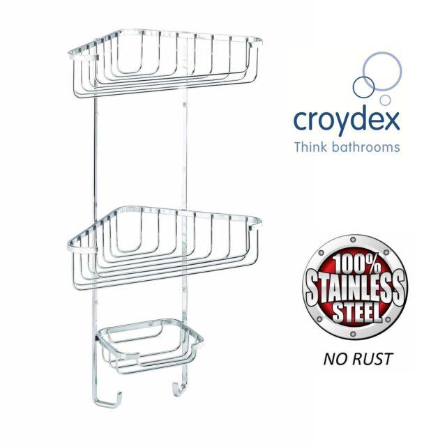 CROYDEX 3 TIER STAINLESS STEEL CORNER SHOWER RACK CADDY BATHROOM SHELF ORGANIZER