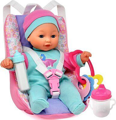 खिलौना सहायक उपकरण के साथ बेबी डॉल कार सीट, 12 इंच सॉफ्ट बॉडी डॉल शामिल है
